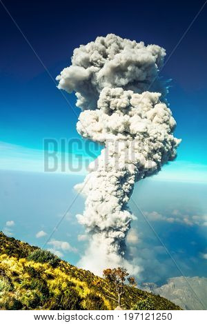 View on Eruption of volcano Santiaguito in Guatemala by Santa Maria