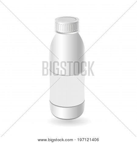Plastic template milk bottle, yogurt. Blank packaging isolated on white background. Package template. Realistic 3d mock-up