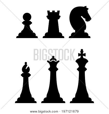 Black chess figures silhouettes isolated on white. Vector chess figure illustration