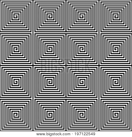 Abstract seamless geometric pattern background. Square spiral maze in black and white. Vector illustration.