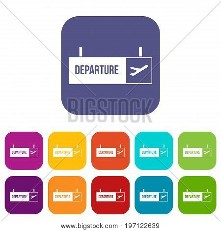 Airport departure sign icons set vector illustration in flat style in colors red, blue, green, and other