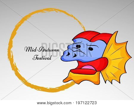 illustration of dragon with Mid Autumn Festival text on the occasion of Mid Autumn Festival