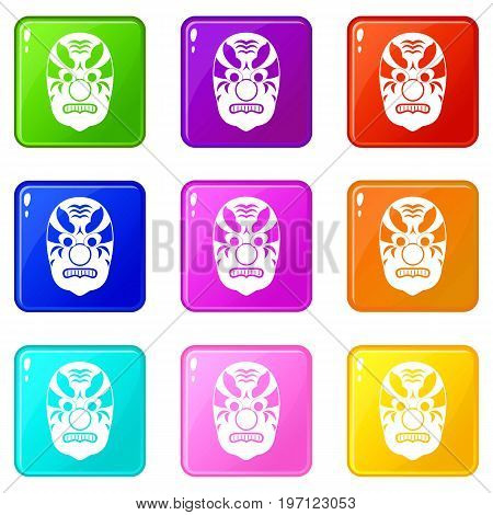 Tribal mask icons of 9 color set isolated vector illustration
