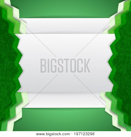Abstract background with two serrated green element on the sides and white space for text vector illustration