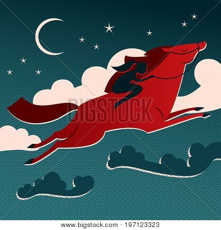 Wild horse composition red horse with a female rider flying through the sky vector illustration