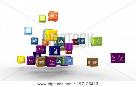 Energy, power and transport icons on floating cubes. Sustainable energy generation and heavy industry. 3D rendering