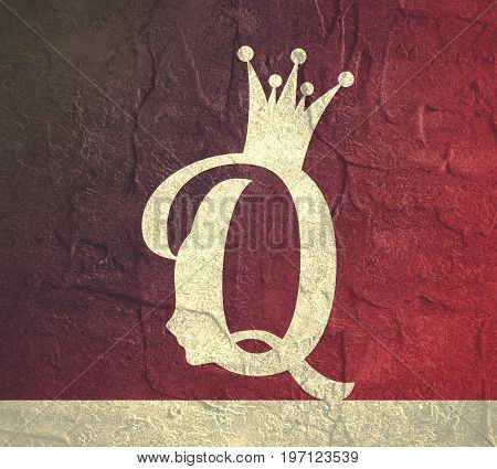 Vintage queen silhouette. Medieval queen profile. Elegant outline silhouette of a female head. Grunge texture effect. Royal emblem with Q letter
