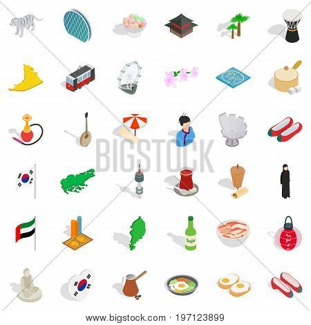 Japanese culture icons set. Isometric style of 36 japanese culture vector icons for web isolated on white background