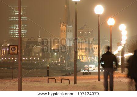 A snowy landscape on a winters evening in Dusseldorf