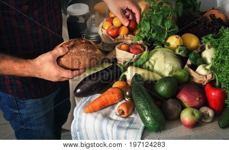 Different healthy food in the home kitchen. Healthy food concept