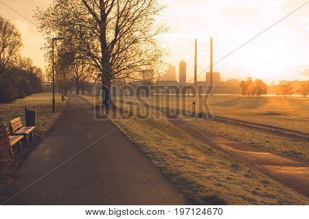 Sunrise in the early morning over the city skyline of Dusseldorf