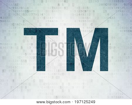 Law concept: Painted blue Trademark icon on Digital Data Paper background
