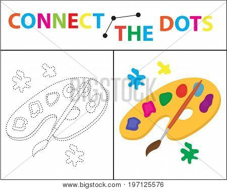 Children s educational game for motor skills. Connect the dots picture. For children of preschool age. Circle on the dotted line and paint. Coloring page. Vector illustration