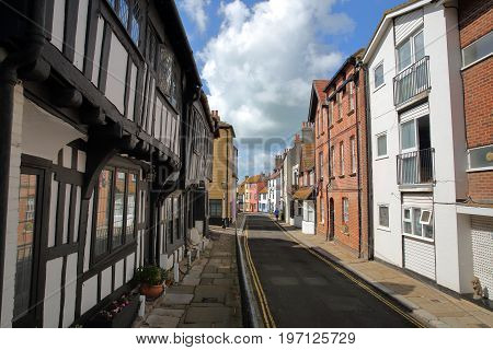 HASTINGS, UK - JULY 22, 2017: All Saints Street in Hastings Old town with 16th century timbered framed and medieval houses