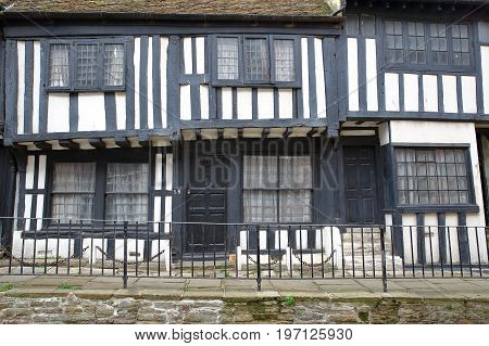 HASTINGS, UK - JULY 22, 2017: 16th century timbered framed and medieval houses in Hastings Old Town