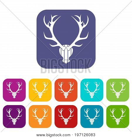 Deer antler icons set vector illustration in flat style in colors red, blue, green, and other