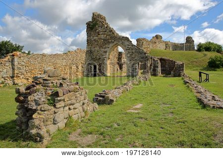 HASTINGS, UK - JULY 23, 2017: The ruins of Hastings Castle in East Sussex