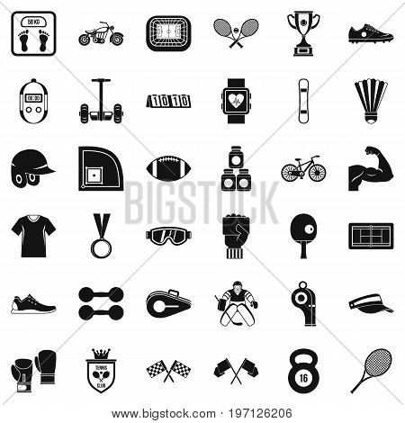 Athlete icons set. Simple style of 36 athlete vector icons for web isolated on white background