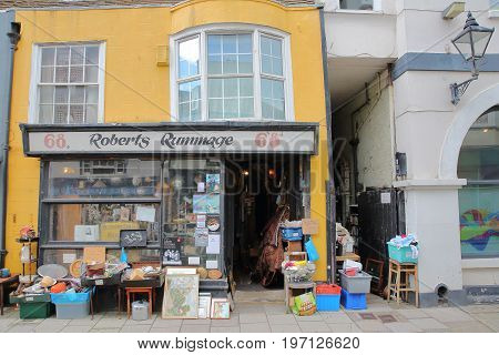 HASTINGS, UK - JULY 23, 2017: Colorful shops in High Street, Hastings Old Town