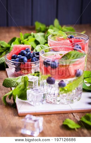 Refreshing drink with mint,water melon and blueberry for health life