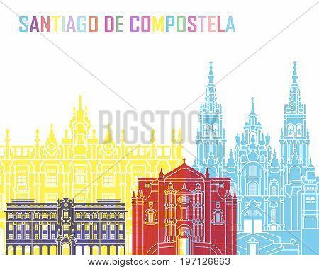 Santiago De Compostela Skyline Pop