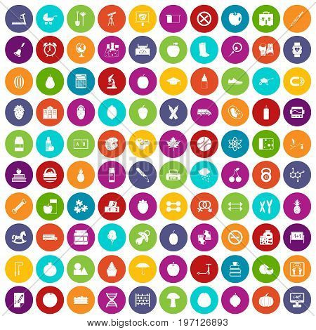 100 apple icons set in different colors circle isolated vector illustration