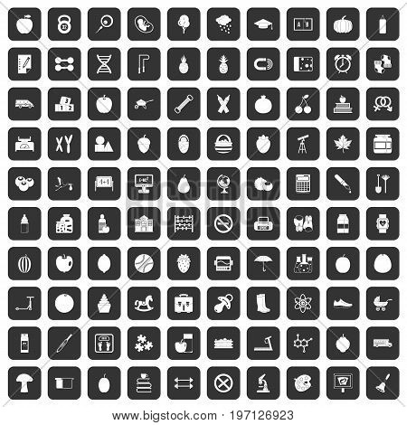 100 apple icons set in black color isolated vector illustration