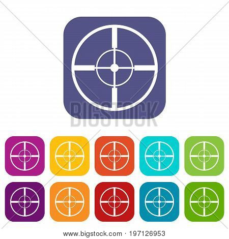 Aim icons set vector illustration in flat style in colors red, blue, green, and other