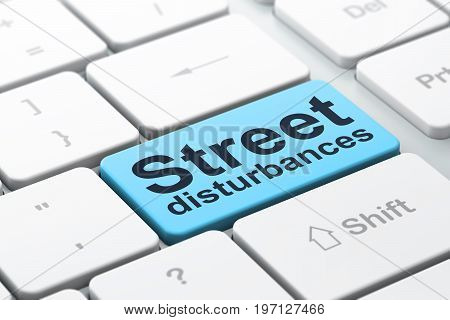 Political concept: computer keyboard with word Street Disturbances, selected focus on enter button background, 3D rendering