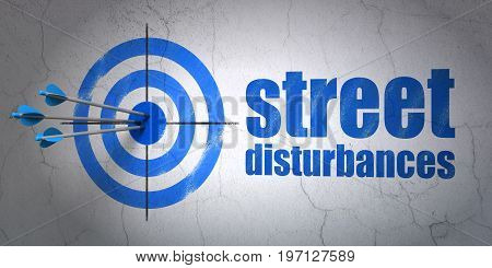 Success political concept: arrows hitting the center of target, Blue Street Disturbances on wall background, 3D rendering