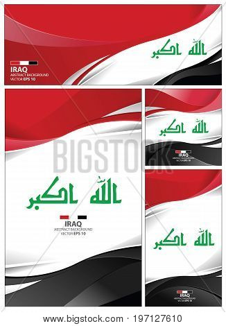 Iraq flag abstract colors background. Collection banner design. brochure vector illustration.