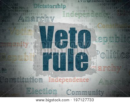 Politics concept: Painted blue text Veto Rule on Digital Data Paper background with   Tag Cloud