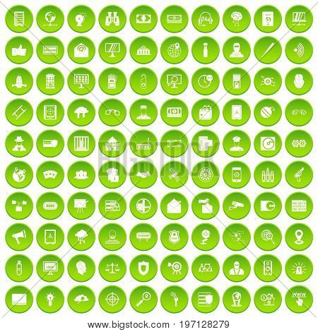100 security icons set in green circle isolated on white vectr illustration