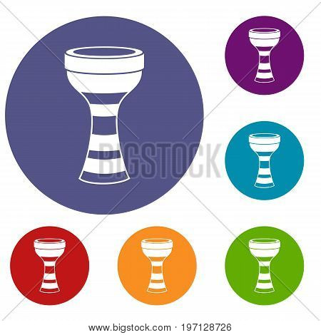 African drum icons set in flat circle red, blue and green color for web