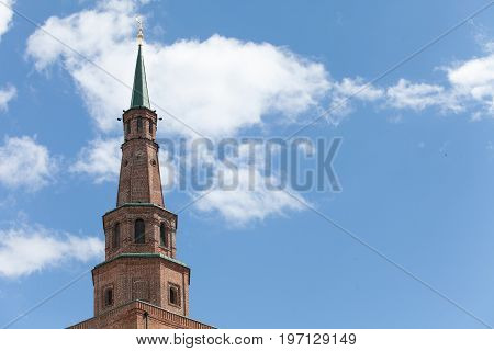 The tower of the Kazan Kremlin against the cloudy sky. Russia