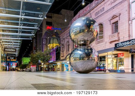 Adelaide Australia - April 16 2017: Iconic Rundle Mall Balls in Adelaide CBD from ground point of view at night