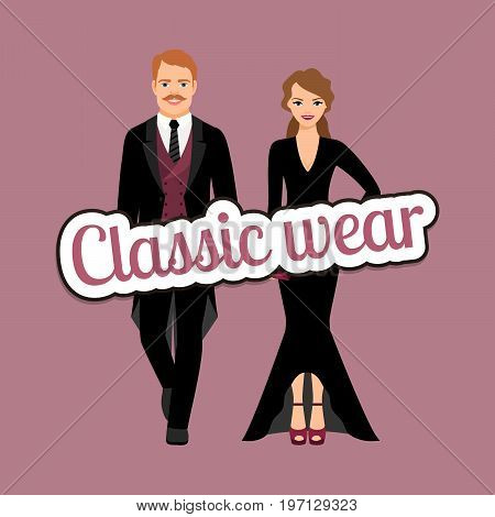 Evening fashion outfit people in classic wear style vector concept