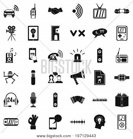 Audio equipment icons set. Simple style of 36 audio equipment vector icons for web isolated on white background
