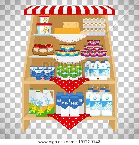 Milk and yogurt, cheese and cream on showcase shelves isolated on transparent background. Vector illustration
