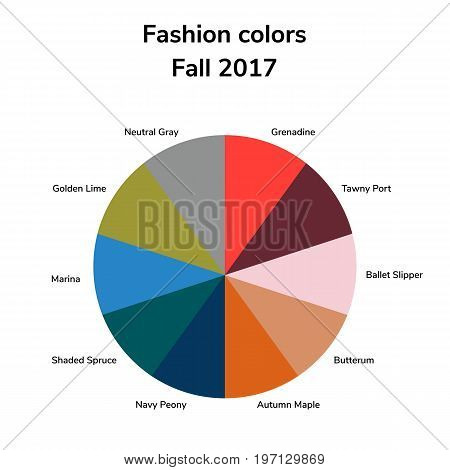 vector illustration, infographics, trendy colors of the 2017 fall, grenadine, tawny port, ballet slipper, butterum, navy peony, neutral gray, shaded spruce, golden lime marina autumn maple