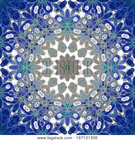 Abstract geometric background. Regular round floral ornament dark blue, blue gray, brown and white, ornate and dreamy.