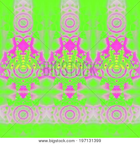 Abstract geometric background. Regular modern concentric circle ornaments pink, violet and magenta on bright green, conspicuous and dreamy.