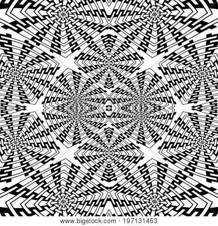 Abstract geometric background. Regular intricate squares pattern black and white centered, coloring page.