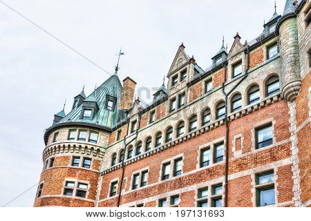 Quebec City, Canada - May 29, 2017: Old Town View Of Hotel Fairfmont Chateau Frontenac Brick Castle