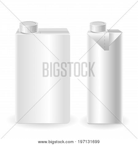 Realistic vector 3d mock up of milk or juice box on white background. Carton liter package with cap isolated
