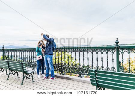 Quebec City, Canada - May 29, 2017: Old Town View Of Dufferin Terrace Wooden Boardwalk With Couple T