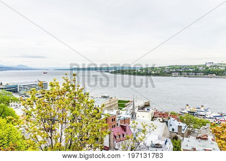 Quebec City, Canada - May 29, 2017: View Of Levis Town And Ile D'orleans With St Lawrence River And