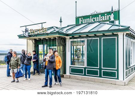 Quebec City, Canada - May 29, 2017: Old Town View Of Dufferin Terrace Wooden Boardwalk With Funicula