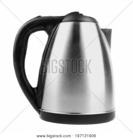 An electric stainless steel kettle, isolated on a white background. The beautiful design of modern gray kettle full of water. The silver pot for the kitchen.