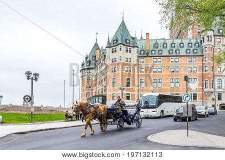 Quebec City, Canada - May 29, 2017: Old Town Street With View Of Hotel Chateau Frontenac, Champlain